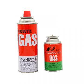 Fuel Energy Empty Tinplate Safety Powerful Butane Gas Canister 220G with Valve and Cap